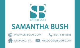 SB Designs Business Card - Contact Info