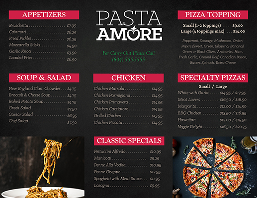 Pasta Amore Brochure 1